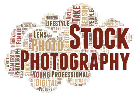 Stock photography word cloud concept on white background, 3d rendering