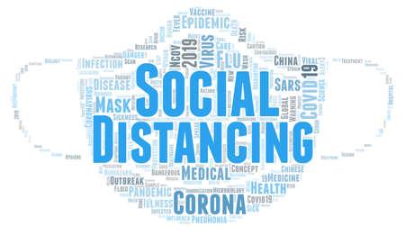 Social distancing word cloud concept on white background, 3d rendering Reklamní fotografie