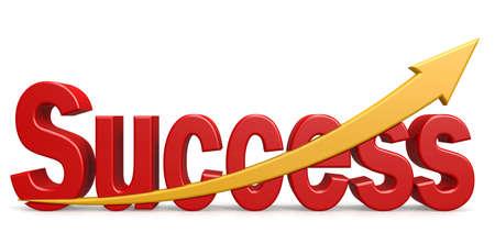 Success word with upward golden arrow, 3D rendering
