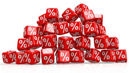 Red cubes with percentage sign, 3D rendering Reklamní fotografie