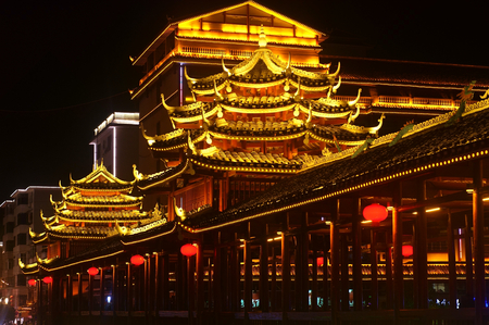 Chinese building at night Editorial