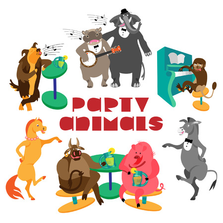 Party animals lettering and hippo with banjo, elephant, dog, monkey with piano, dancing horse and donkey, bull and pig, drinking lemonade. Fine for a greeting card, home pages and invitations to parties and gigs. Vettoriali