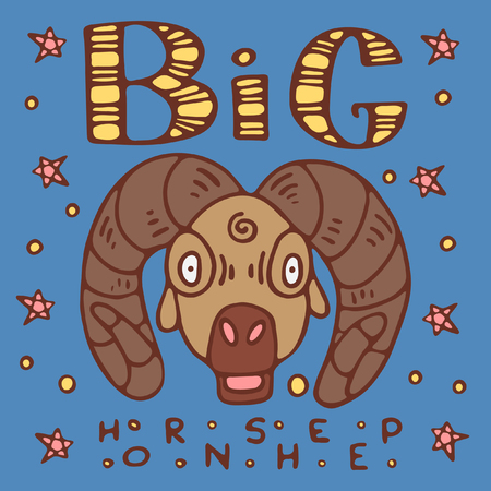 A colored poster with a big-horn sheep, lettering and stars in a doodle style