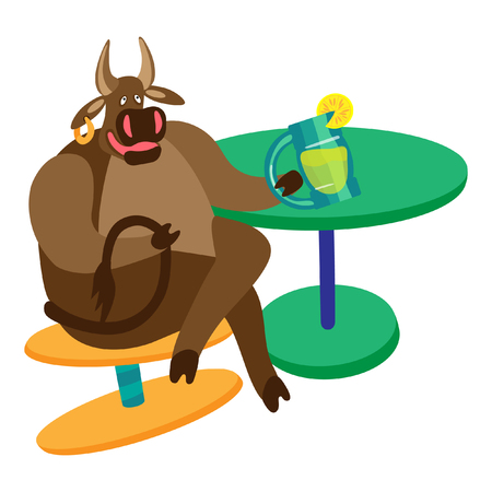 A bull with lemonade sitting on a stool. Fine for a greeting card, home pages and invitations to parties and gigs.