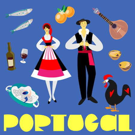 Portugal symbols picture with flat style elements.  Fine for souvenirs, wrap paper, stationary, travel brochures, and textile prints.
