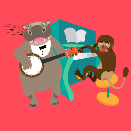 Singing hippo with banjo plays melody together with a monkey who plays the piano. Fine for a greeting card, home pages and invitations to parties and gigs. Vettoriali