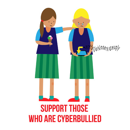 Support those who are bullied, poster in a flat style. Fine for educational and school sites, brochures and articles about bullying.