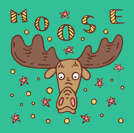 A colored poster with a moose, lettering and stars in a doodle style