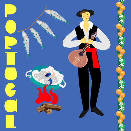 Portuguese guitar player in national costume near bonfire with paella pan, sardines and oranges garland. Fine for souvenirs, wrap paper, stationary, travel brochures, and textile prints. Stock Illustratie