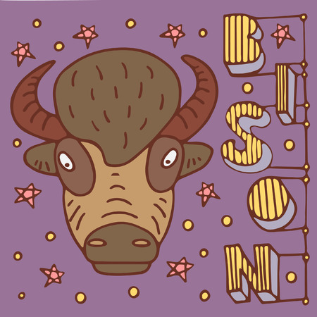 A colored poster with a buffalo, lettering and stars in a doodle style