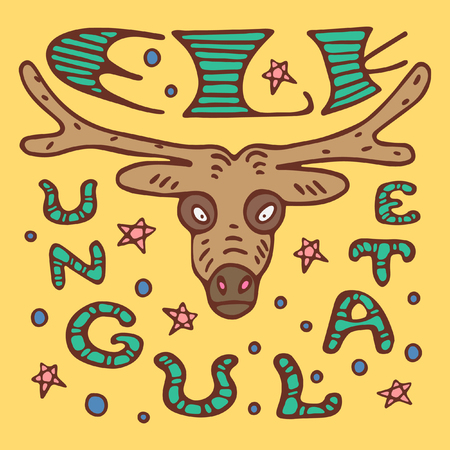 A colored poster with an elk, lettering and stars in a doodle style Ilustrace