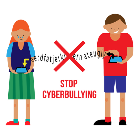 Stop cyberbullying poster in a flat style. Fine for educational and school sites, brochures and articles about bullying.