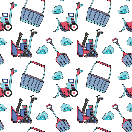 Snow and ice removal seamless pattern, in doodle style. Finr for wrapping paper, stationery and backgrounds.