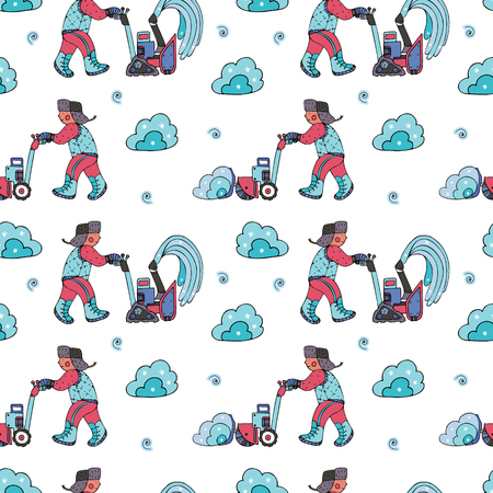 Snow removal seamless pattern, in doodle style. Finr for wrapping paper, stationery and backgrounds.