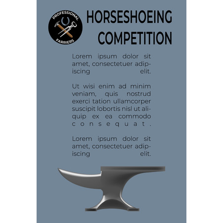 Horseshoeing Competition leaflet template in realistic style with nippers, horseshoe and hammer. Fine for promo materials, leaflets, banners, brochures.