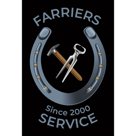 Farriers services in realistic style. Nippers, shoe and hammer for shoeing. Fine for farrier's services promo materials, banners, flyers and leaflets.
