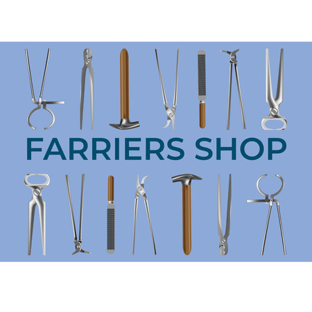 Farrier's tools in realistic style. All the basic instruments for hoof care and shoeing. Fine for farrier's shop banners, catalogues, promo, leaflets, brochures and horsemanship sites and books.