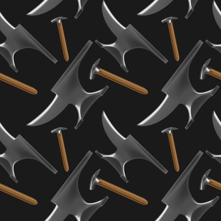 Dark color seamless pattern with blacksmiths and farriers tools in realistic style. Hammers and anvils. Fine for blacksmiths and farriers shop banners, catalogues and horsemanship sites and books. Ilustração