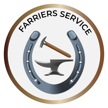 Farriers services icon in realistic style. Anvil, shoe and hammer for shoeing. Fine for farrier's services promo materials, banners, flyers and leaflets.
