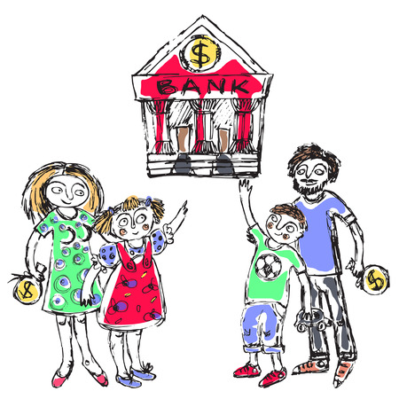 Doodle picture of a young family going to the bank with kids. Fine for articles, financial institutions and services promo materials.  イラスト・ベクター素材