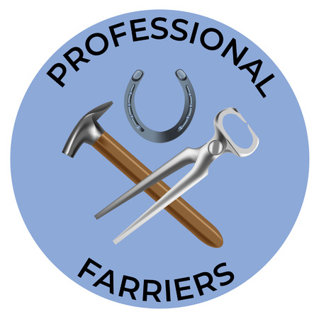 Farriers services icon in realistic style. Nippers, shoe and hammer for shoeing. Fine for farrier's services promo materials, banners, flyers and leaflets. Vettoriali