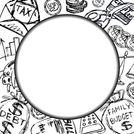 Frame for text or heading with family budget financial symbols (coins, piggy, calculator, tax debt, credit card) to illustrate articles and brochures on financial topic. Çizim