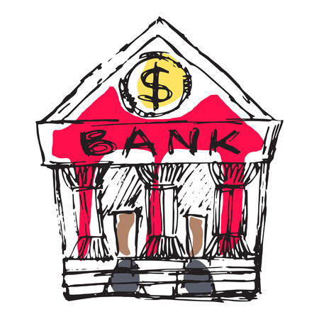 Bank building with money symbol. Fine for financial education articles, brochures and promo materials.