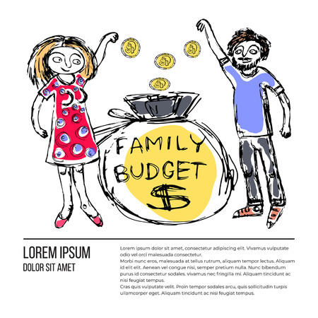 Doodle picture of a young family giving money to the family budget, with text. Fine for articles, financial institutions and services promo materials.