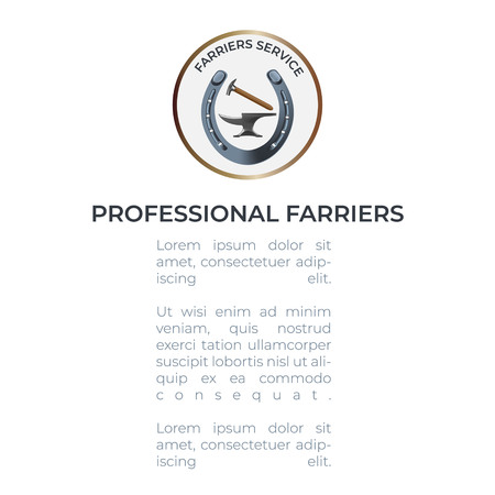 Professional Farriers leaflet template with an anvil, hammer and a horseshoe. All the basic instruments for hoof care and shoeing. Fine for farriers services promo materials, banners, flyers and leaflets.