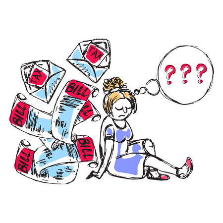 Doodle picture of a desperate young woman thinking about loan, debt and bills. Fine for articles, financial institutions and services promo materials.