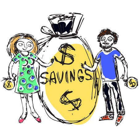Doodle picture of a young family considering saving money. Fine for articles, financial institutions and services promo materials.  イラスト・ベクター素材