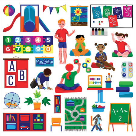 Kindergarten (preschool) classrom set in flat style. Fine for stationary, preschool sites and articles, illustrations, kindergarten diplomas. Illustration