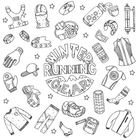 Winter running gear set in doodle style. Fine for sports sites, articles, brochures, promomaterials and stationery.