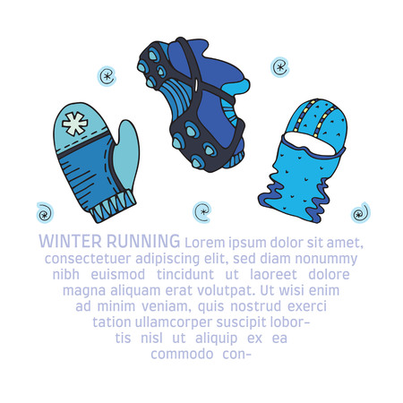 Winter running gear picture with text, in doodle style. Fine for sports sites, articles, brochures, promomaterials and stationery.