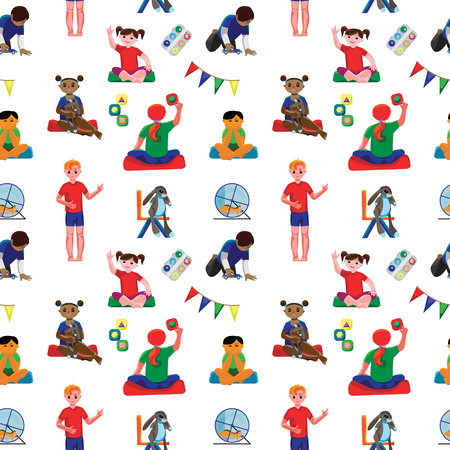 Colored kindergarten classroom seamless pattern with preschool kids and furniture. Fine for wrapping paper, fabric prints, stationary and preschool sites. Illustration