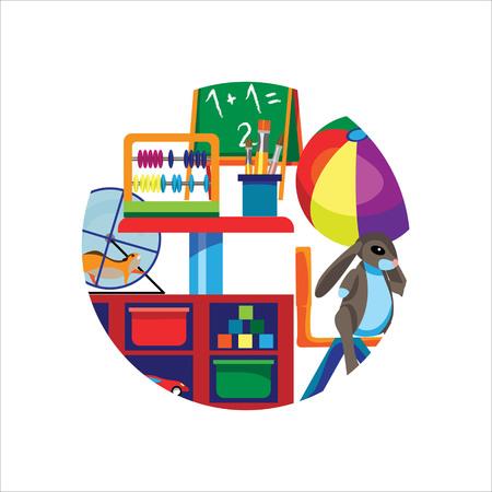 Foto dell'aula dell'asilo (prescolare) in una cornice rotonda, in stile piatto. Ammenda per cancelleria, siti e articoli prescolari, illustrazioni, diplomi di scuola materna. Vettoriali