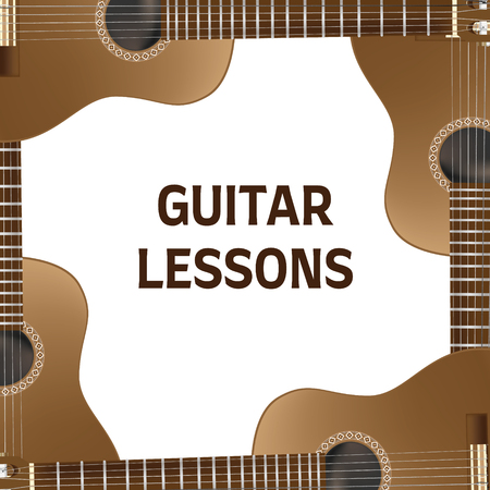 Guitar lessons leaflet and brochure design. Ready-made promomaterials.