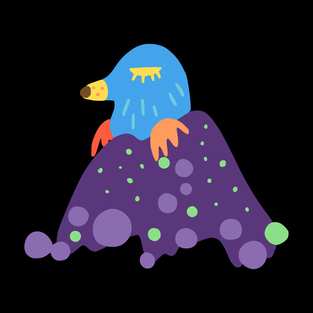A mole in a molehill. Summer forest animals and plants. Colored decorative doodle. Ilustração