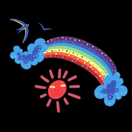 Rainbow and sun ornamental doodle against black background.
