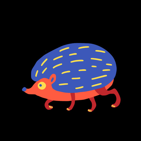 Running hedgehog doodle against black background.