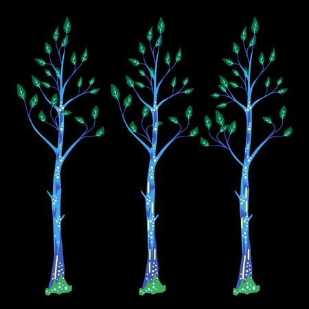 Tree illustration against contrast background. Çizim