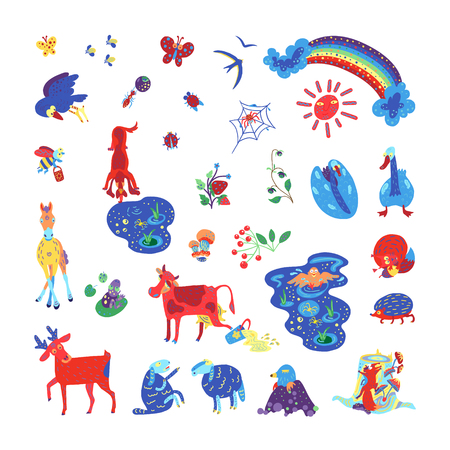Summer forest and meadow animals and plants set. Children books and color books illustrations. Templates for wall-painting.