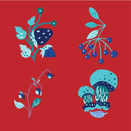 Satz wilde Beeren und Steinpilze vor rotem Hintergrund. Vektorgrafik