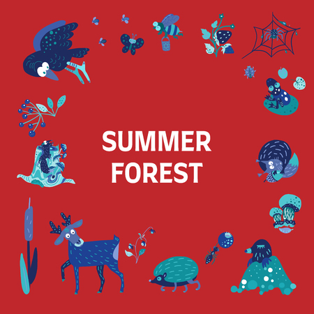 Summer forest doodle with text. Forest animals, insects and birds