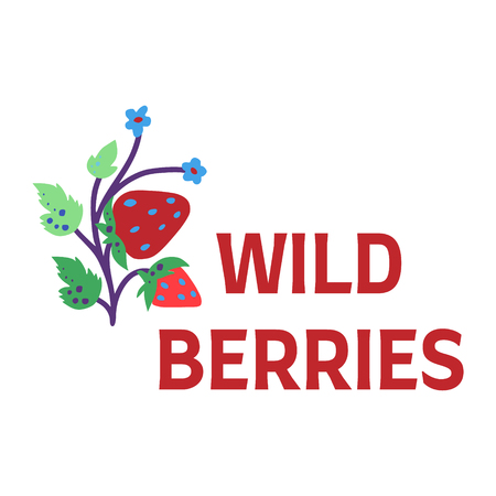 Wild berries doodle picture with text. Illustration