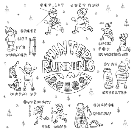 Winter running rules set, in doodle style. Fine for sports sites, articles, brochures, promomaterials and stationery.