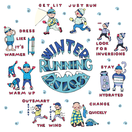 Winter running rules set, in doodle style. Fine for sports sites, articles, brochures, promomaterials and stationery. Vektoros illusztráció
