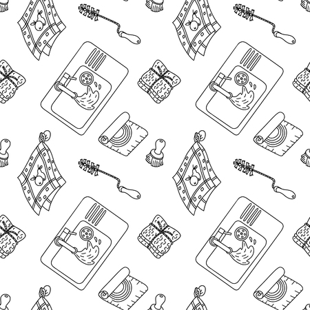 Seamless pattern in doodle style with zero-waste and plastic-free items for kitchen. Sustainable household and green house. Stationery and fabric print pattern. Illusztráció