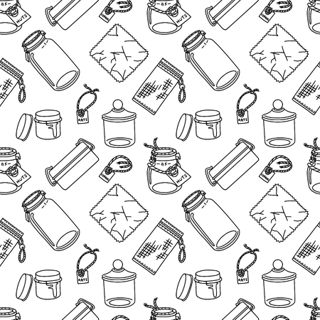 Seamless pattern in doodle style with zero-waste and plastic-free items for kitchen. Sustainable household and green house. Stationery and fabric print pattern. 矢量图像