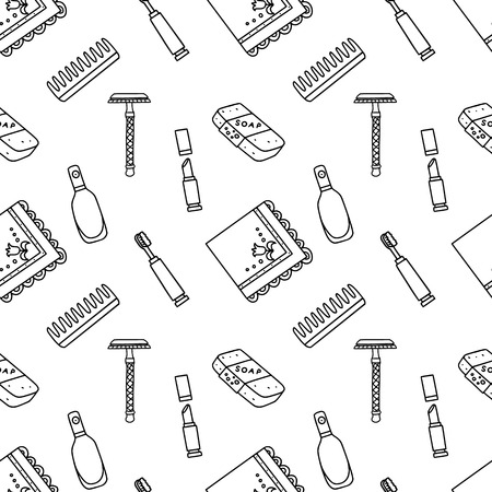 Seamless pattern with zero waste products for householding. Beauty eco products. Plastic-free living. Patterns for stationery, wrapping and fabric print.